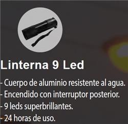 LINTERNA 9 LED ALUMINIO RESISTENTE/AGUA 3XAAA