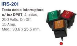 INTERRUPTOR DOBLE TECLA 4 PAT.LUMINOSO 220/15A ROJO