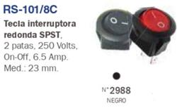 INTERRUPTOR TECLA REDONDA  220V 6,5A NEGRO