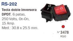 INVERSOR DOBLE TECLA CUADRADO 220V 15A ROJO