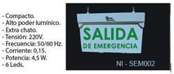 SEÑALIZADOR 6 LED AUTONOMO PERMANENTE 1 FAZ SALIDA EMERGENCIA