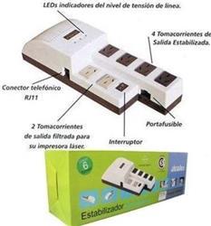 ESTABILIZADOR 1KVA P/PC 6 SALIDAS R1000@  ATOMLUX