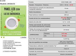 PANEL EMB.LED 10W+EMERG. 2HS PERMANENTE - 2050