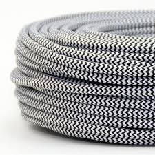 MTS.CABLE TEXTIL 2X0,50 MM BLANCO/NEGRO