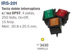 INTERRUPTOR DOBLE TECLA 4 PAT.LUMINOSA 220V 15A AMARILLO