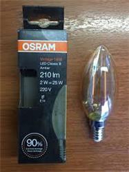 LAMPARA LED VELA -FILAMENTO RECTO VIDRIO AMBAR 2W 210LM 2500K-CALI E14 (NO DIMER) 15000HS VINTAGE