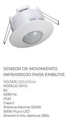 SENSOR MOVIMIENTO INFRAROJO EMBUTIR 1200W/300W LED 360°