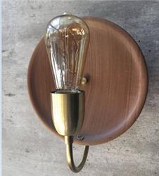 APLIQUE PLATO VINTAGE MADERA CON DETALLE EN BRONCE LAMPARA LED E27