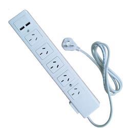 ZAPATILLA 5 TOMAS C/TERMICA+2 TOMAS USB 1.5 MTS.BLANCA
