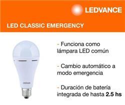 LAMPARA LED CLASSIC EMERGENCY 10W LUZ FRIA AUTONOMA 2.5 HS