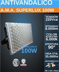 PROYECTOR LED 100W FRIO 6000K ANTIVANDALICO SUPERLUX 8000LM IP67