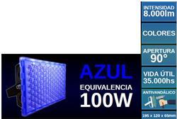 PROYECTOR LED 100W AZUL ANTIVANDALICO SUPERLUX 8000LM IP67