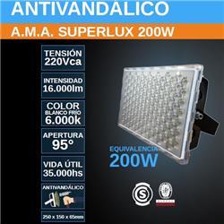PROYECTOR LED 200W FRIO 6000K ANTIVANDALICO SUPERLUX 16000LM IP67