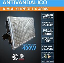 PROYECTOR LED 400W FRIO 6000K ANTIVANDALICO SUPERLUX 32000LM IP67