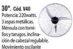 VENTILADOR PARED 30' 3 VELOCIDADES OSCILANTE V40