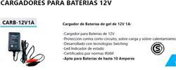 CARGAD.BAT GEL 12V - 1A-APTO P/BATER.HASTA 10AMP.