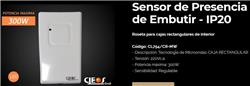 SENSOR MOVIMIENTO (MIC) EMB 300W LED 16 MTS 160° IP20 CL754/CR-MW